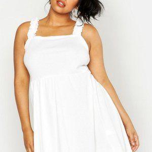 NWT Boohoo Plus Ruffle Ribbed Mini Dress